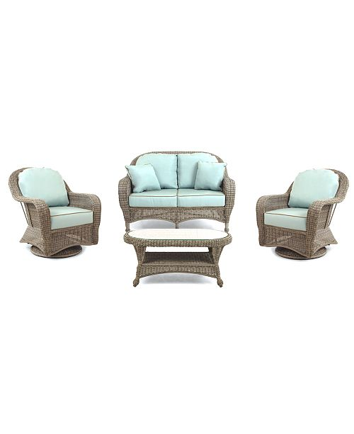 Furniture Sandy Cove Outdoor Wicker 4-Pc. Seating Set (1 Loveseat, 2 Swivel Gliders and 1 Coffee Table), Created for Macy's
