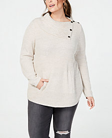 Style & Co Plus Size Envelope-Neck Sweater, Created for Macy's