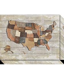 Amanti Art Wood Map  Canvas Art Gallery Wrap
