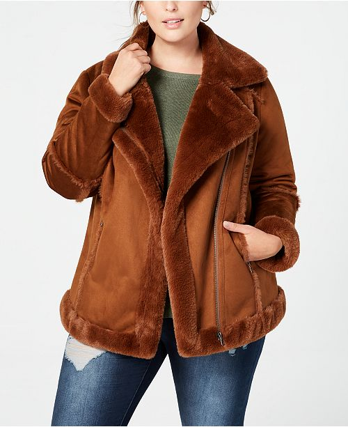 Style & Co Plus Size Faux-Shearling Moto Jacket, Created for Macy's