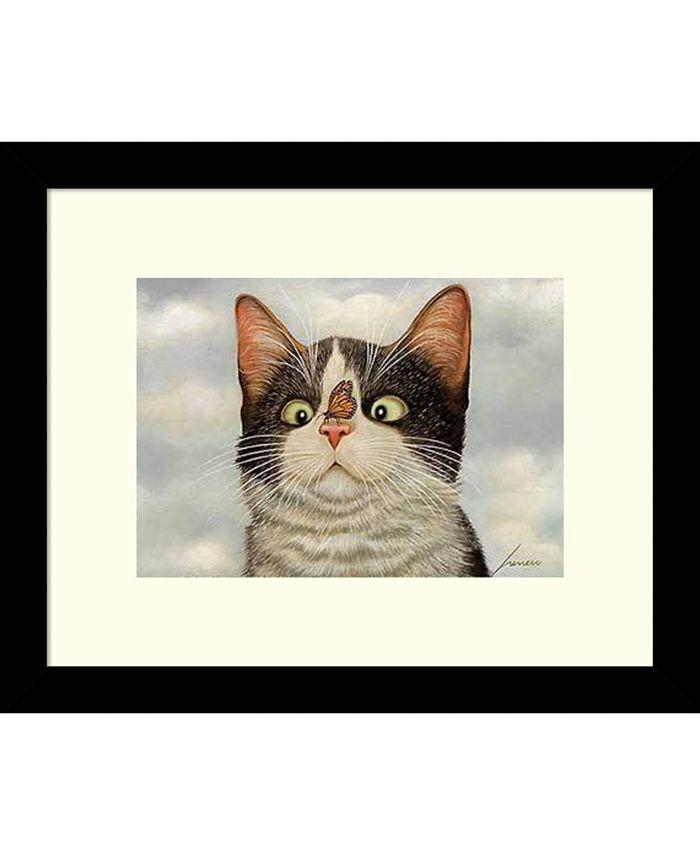 Amanti Art - Hugo Hege Cat and Butterfly 11x9 Framed Art Print