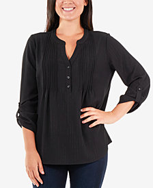 NY Collection Tab-Sleeve Henley Top