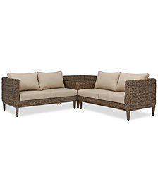 La Palma Outdoor 3-Pc. Sectional Seating Set (1 Right-Arm Loveseat Sectional, 1 Corner Table With Arm And 1 Left-Arm Loveseat Sectional), Created For Macy's