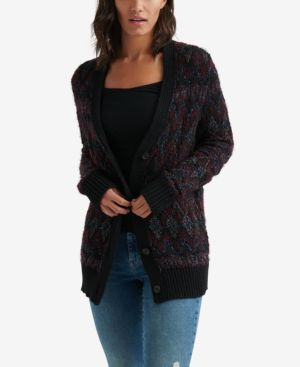 LUCKY BRAND Button-Front Fair Isle Cardigan in Black Multi
