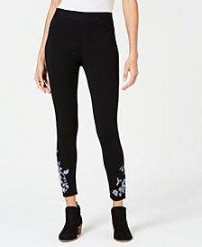 Style & Co Garden-Embroidered Leggings, Created for Macy's