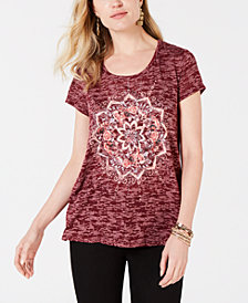 Style & Co Medallion-Graphic High-Low Top, Created for Macy's