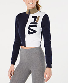 Fila Cotton High-Neck Quarter-Zip Sweater