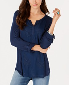 Style & Co Embroidered Contrast Top, Created for Macy's