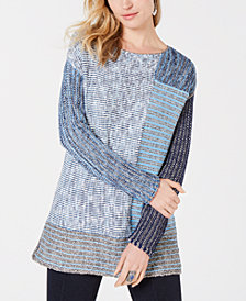Style & Co Blocked Boat-Neck Sweater, Created for Macy's