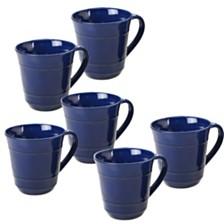 Certified International Orbit Solid Color - Cobalt Blue 6-Pc. Mug 14oz Set