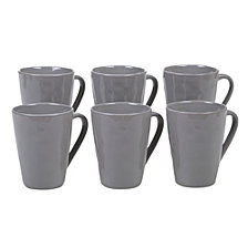 Certified International Harmony Solid Color - Light Grey 6-Pc. Mug 15oz Set