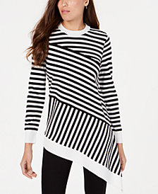 Alfani Striped Asymmetrical-Hem Sweater, Created for Macy's