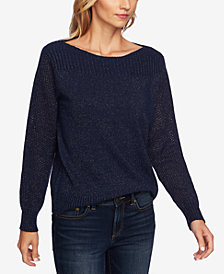 CeCe Metallic Boat-Neck Sweater
