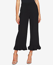 CeCe Ruffled-Hem Wide-Leg Pants