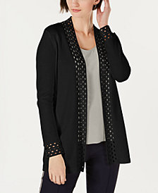 Charter Club Petite Cutout Open-Front Cardigan, Created for Macy's
