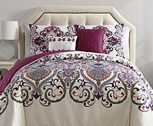 Amherst Reversible Damask 5 Piece Comforter Set, King