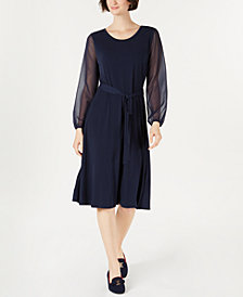 Charter Club Sheer-Sleeve Midi Dress, Created for Macy's