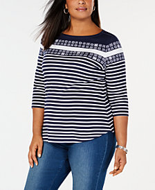 Charter Club Plus Size Cotton Striped Top, Created for Macy's