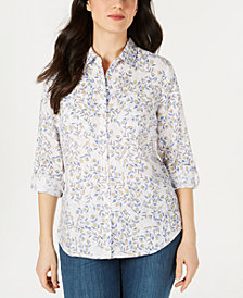 Charter Club Printed Linen Button-Up Top, Created for Macy's