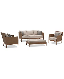San Lazzaro Outdoor Woven 4-Pc. Seating Set (1 Sofa, 2 Chairs And 1 Coffee Table/Ottoman), Created For Macy's