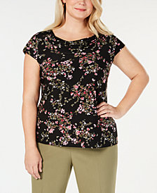 Nine West Plus Size Floral-Print Cowl-Neck Top
