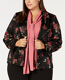 Nine West Plus Size Floral-Print Shawl-Lapel Jacket