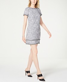 Adrianna Papell Embellished Bouclé Dress