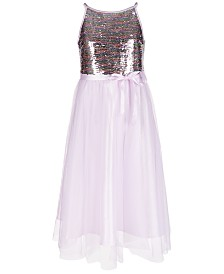 Pink & Violet Big Girls Rainbow Sequin Dress