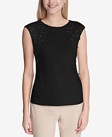 Calvin Klein Embellished Crew-Neck Top