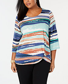 JM Collection Plus Size Knot-Hem Printed Tunic, Created for Macy's