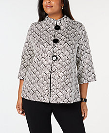 JM Collection Plus Size Foil-Print Jacket, Created for Macy's