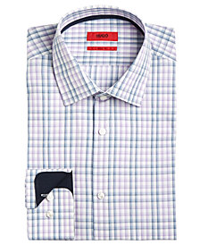 Hugo Boss Men's Men's Slim-Fit Purple Check Dress Shirt