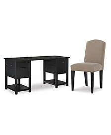 Study Hall Kid's Home Office 2-Pc. Set (Junior Executive Desk & Upholstered Desk Chair)