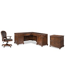 Clinton Hill Cherry Home Office, 3-Pc. Set (L-Shaped Desk, Lateral File Cabinet & Leather Desk Chair), Created for Macy's