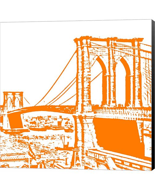Metaverse Orange Brooklyn Bridge by Veruca Salt Canvas Art