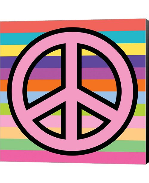 Metaverse Peace - Pink on Stripes by Louise Carey Canvas Art