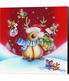 Birds Bearing Deer Christmas Gifts by DBK-Art Licensing Canvas Art