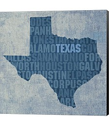 Texas State Words by David Bowman Canvas Art