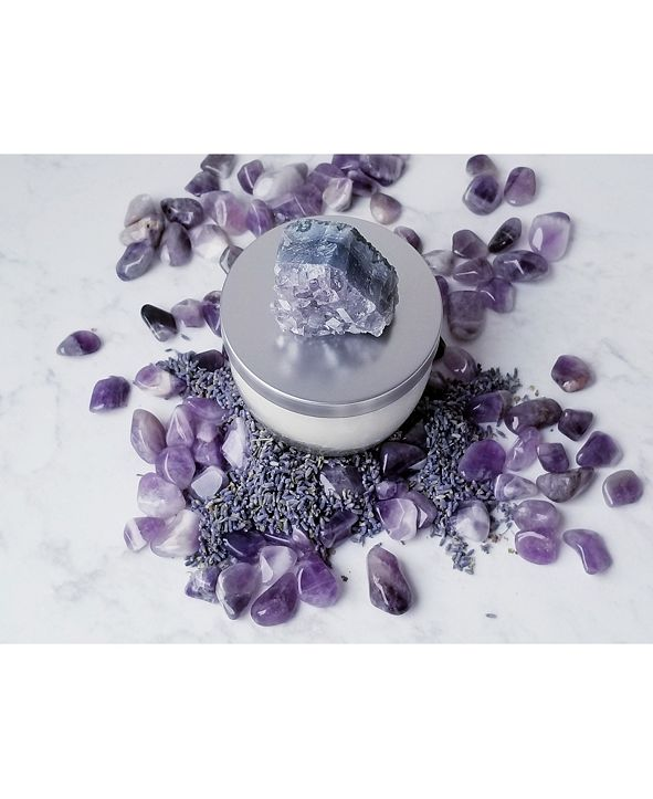 Lifestone Inner Wisdom Natural Soy Candle with Amethyst Crystal: Lavender Essential Oil