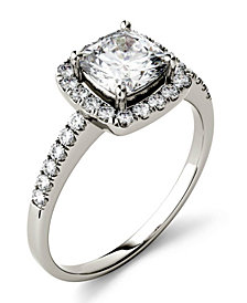 Moissanite Cushion Halo Ring (1-3/8 ct. tw.) in 14k White Gold
