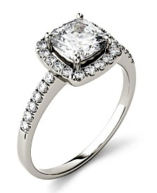 Moissanite Cushion Halo Ring (1-3/8 ct. tw. Diamond Equivalent) in 14k White Gold