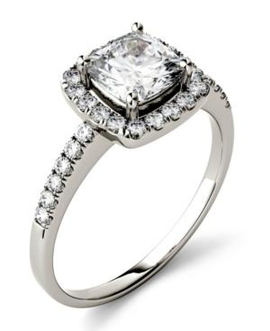 Moissanite Cushion Halo Ring (1-3/8 ct. tw. Diamond Equivalent) in 14k White Gold