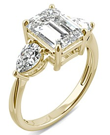 Moissanite Emerald Three Stone Ring (3-3/8 ct. tw. Diamond Equivalent) in 14k Yellow Gold