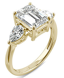 Moissanite Emerald Three Stone Ring (3-3/8 ct. tw.) in 14k Yellow Gold