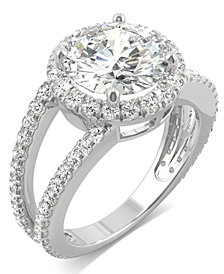 Moissanite Round Split Shank Halo Ring (3-3/8 ct. tw.) in 14k White Gold