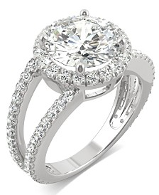 Moissanite Round Split Shank Halo Ring (3-3/8 ct. tw. Diamond Equivalent) in 14k White Gold
