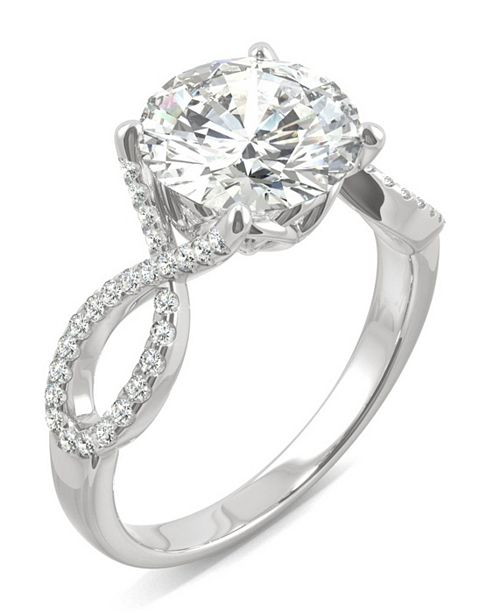 Charles & Colvard Moissanite Round Twisted Shank Ring (2-9/10 ct. tw. Diamond Equivalent) in 14k White Gold