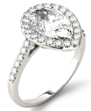 Moissanite Pear Halo Ring (2-5/8 ct. tw. Diamond Equivalent) in 14k White Gold