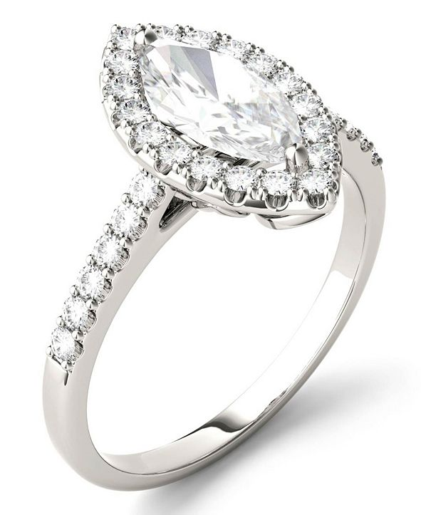 Charles & Colvard Moissanite Marquise Halo Ring (1-3/8 ct. tw. Diamond Equivalent) in 14k White Gold