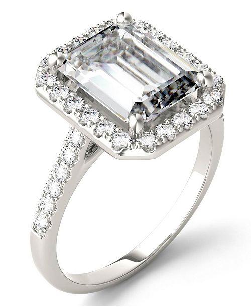 Charles & Colvard Moissanite Emerald Halo Ring (4 ct. tw. Diamond Equivalent) in 14k White Gold